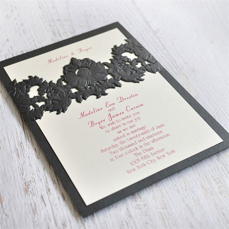 Band of Beauty - Black Shimmer - Laser Cut Invitation