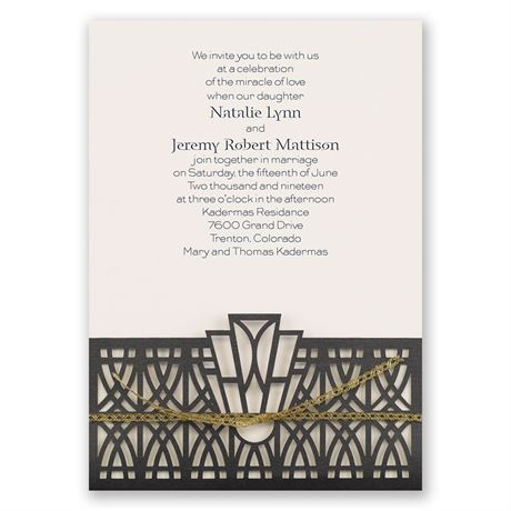 Art Deco Adoration - Ecru - Laser Cut Invitation
