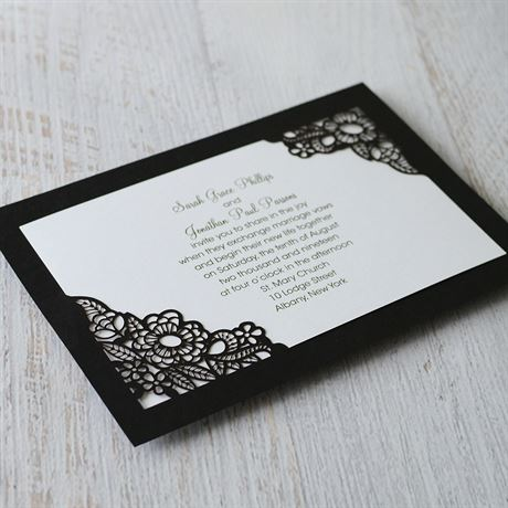 Ebony Floral - Laser Cut Invitation