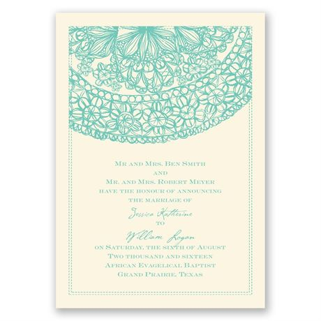 Lacy Accent - Ecru - Invitation