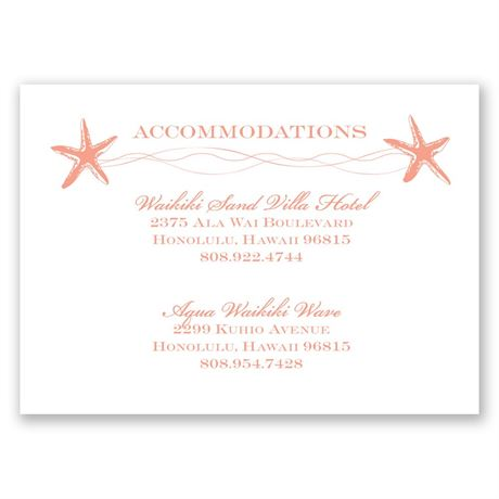 Sweet Starfish - Accommodations Card