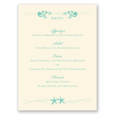 Sweet Starfish - Ecru - Menu Card