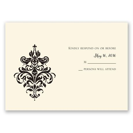Dramatic Damask Ecru Response Card