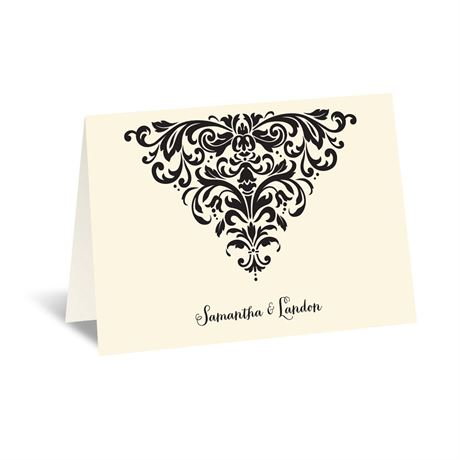 Dramatic Damask - Ecru - Thank You Card