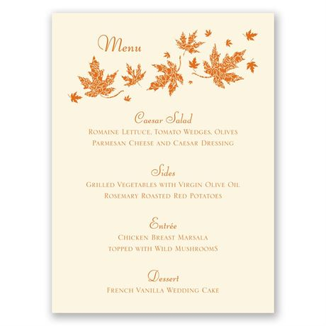 Graceful Leaves - Ecru - Menu Card