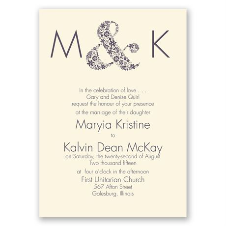 Floral Ampersand - Ecru - Invitation