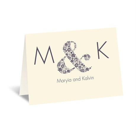 Floral Ampersand - Ecru - Thank You Card