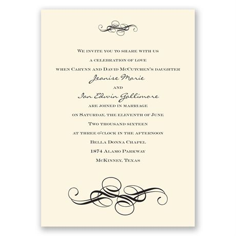 Fancy Flourishes - Ecru - Invitation