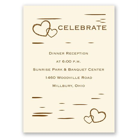 Birch Bark Heart - Ecru - Reception Card