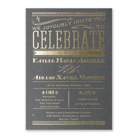 Big News - Black Shimmer - Foil Invitation