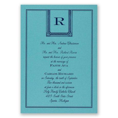 Refined Style - Aqua Shimmer - Foil Invitation
