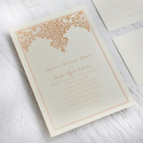 Demure Damask - Black Shimmer - Foil Invitation