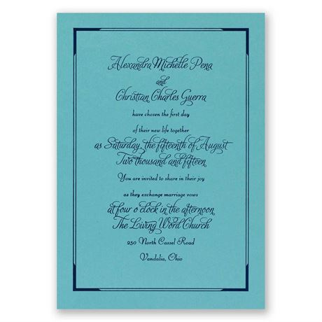 Looking Sharp - Aqua Shimmer - Foil Invitation