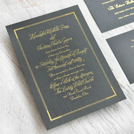 Looking Sharp - Black Shimmer - Foil Invitation