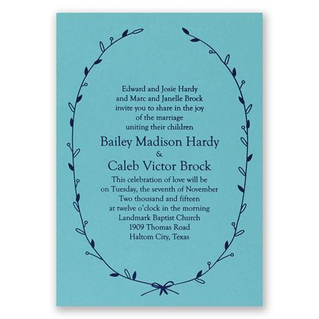 Naturally Beautiful - Aqua Shimmer - Foil Invitation