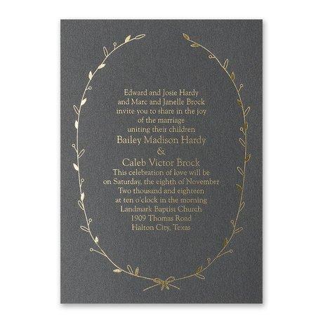 Naturally Beautiful - Black Shimmer - Foil Invitation