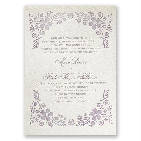 Feathered Floral - Ecru - Featherpress Invitation