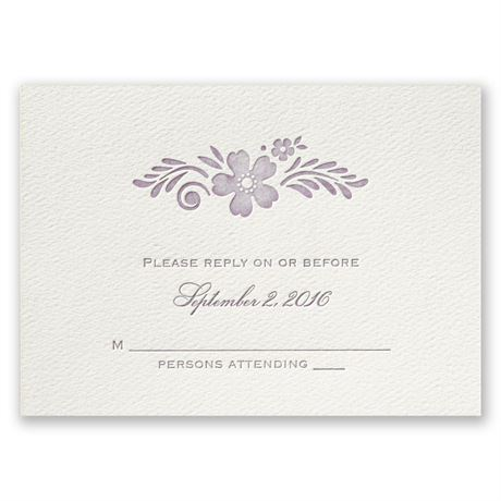 Feathered Floral - Ecru - Featherpress Response Card