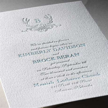Antler Crest - White - Featherpress Invitation