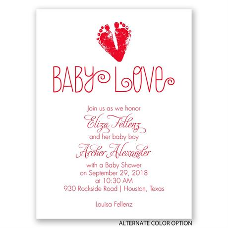 Footprint Heart - Petite Baby Shower Invitation