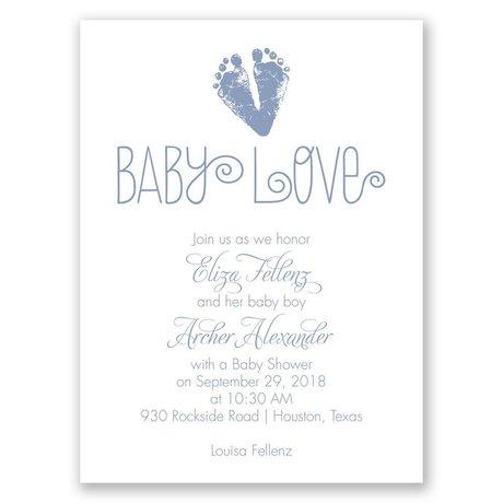 Footprint Heart - Petite Baby Shower Invitation