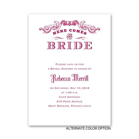 Here Comes the Bride - Petite Bridal Shower Invitation
