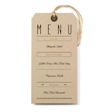 Just the Ticket Menu Card