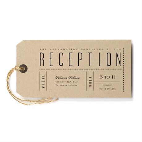 Just the Ticket Reception Card