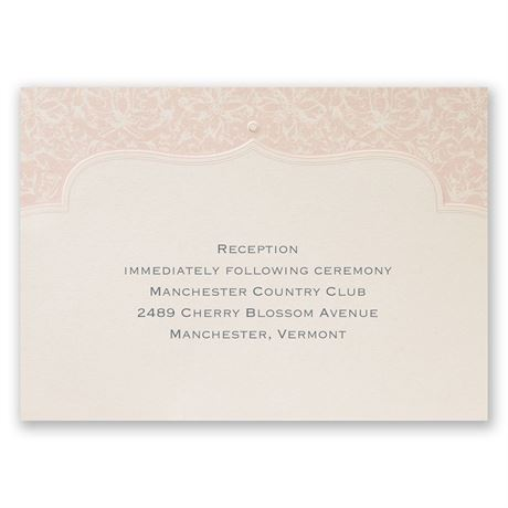 Faded Pink Filigree Reception Card