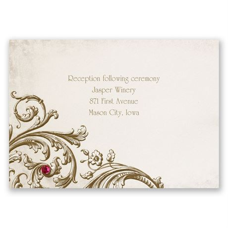 Sepia Filigree Reception Card