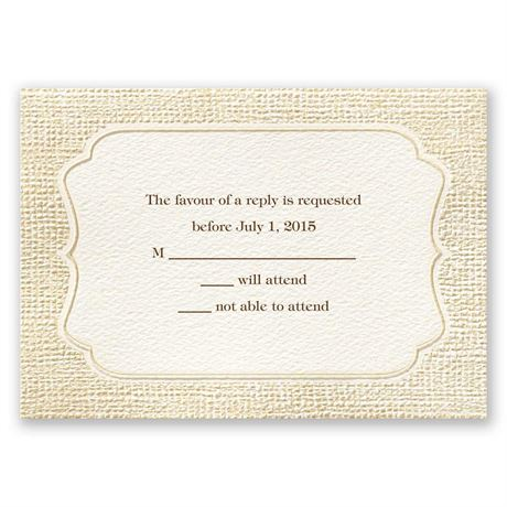 Burlap Sensation Response Card and Envelope
