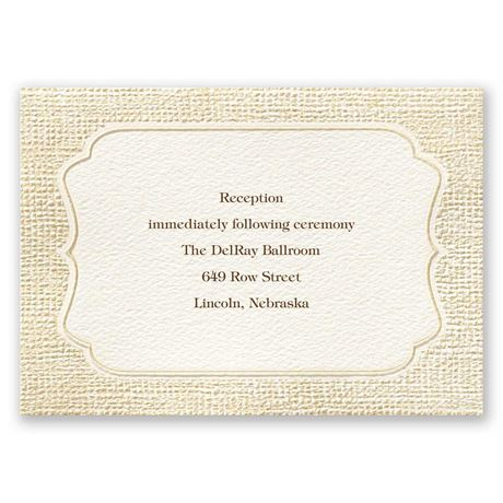 Burlap Sensation Reception Card