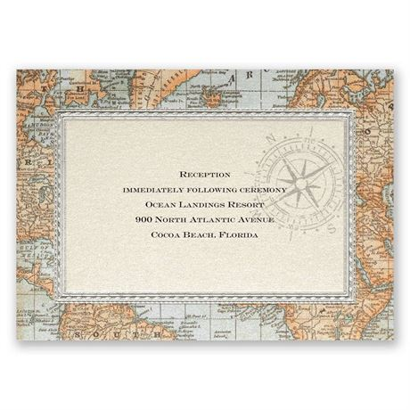 Antique World Map Reception Card
