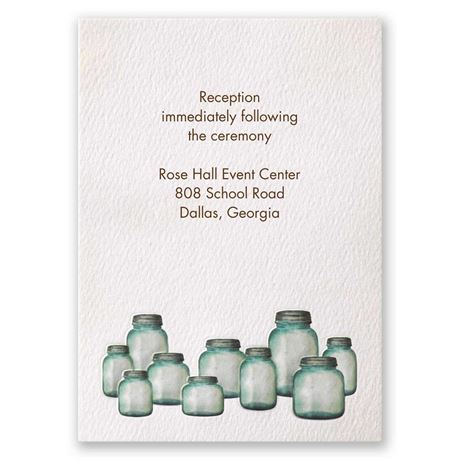 Country Canning Jar Reception Card