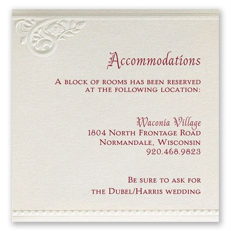 Pearls and Lace Accommodations Card