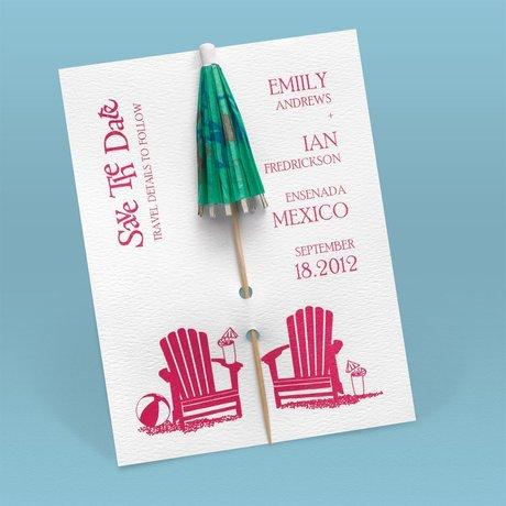 """Kickin"""" Back Umbrella Save the Date Card"""