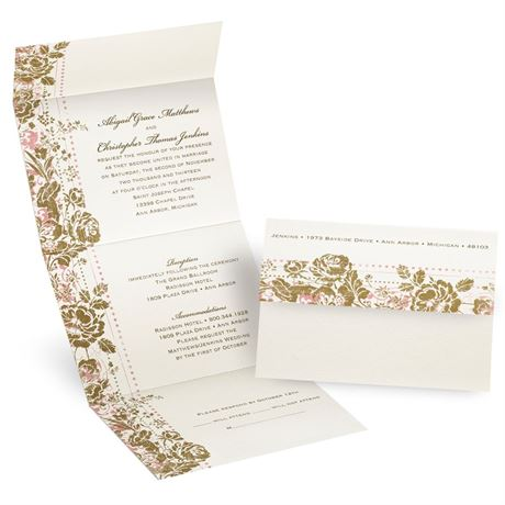 Faded Floral Seal and Send Invitation
