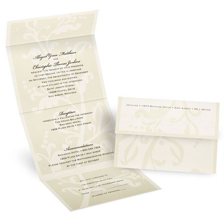 Floral Silhouette Seal and Send Invitation