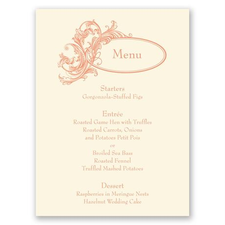 Posh Flourish - Ecru - Menu Card