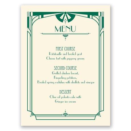 Art Deco Arch - Ecru - Menu Card