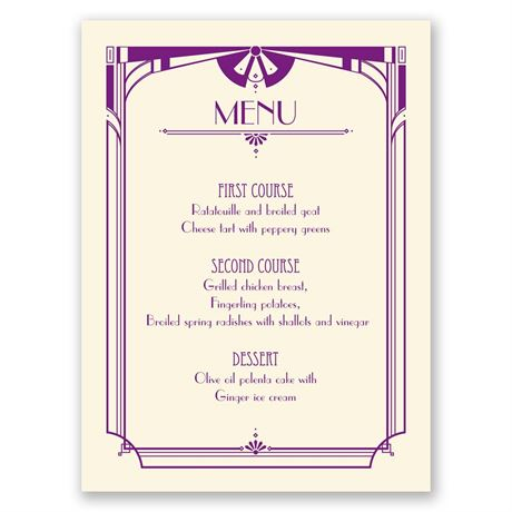 Art Deco Arch - Ecru - Menu Card