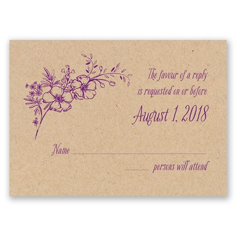 Charming Wildflowers Kraft Response Card