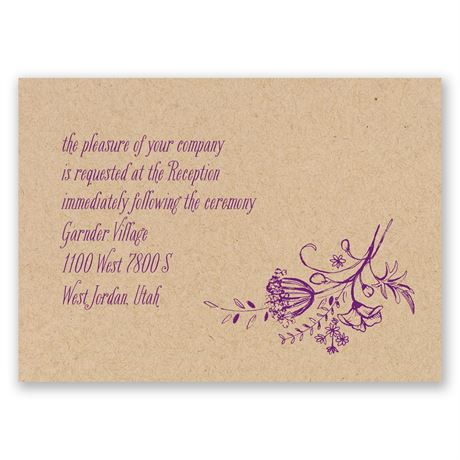 Charming Wildflowers Kraft Reception Card