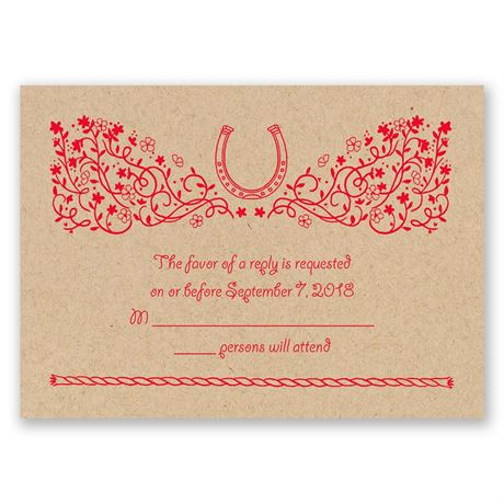 Flowers and Horseshoes Kraft Response Card