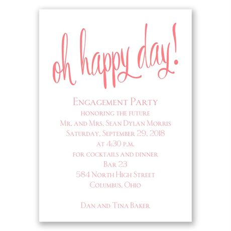 Oh Happy Day Mini Engagement Party Invitation