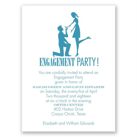 On Bended Knee Petite Engagement Party Invitation