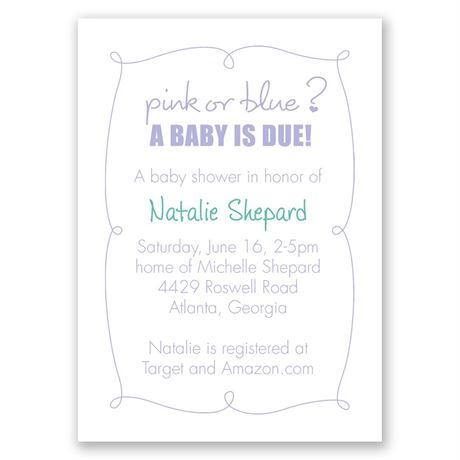 Pink or Blue Mini Baby Shower Invitation
