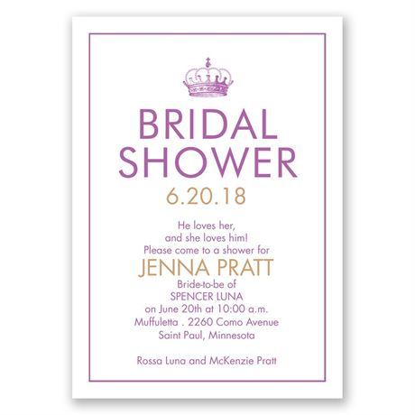 Crowned Bridal Shower Invitation