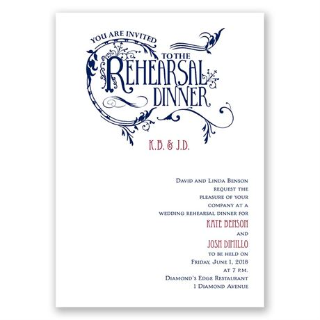 Fabulous Flourish Rehearsal Dinner Invitation