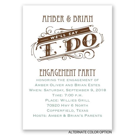 "We""ll Say I Do - Mini Engagement Party Invitation"